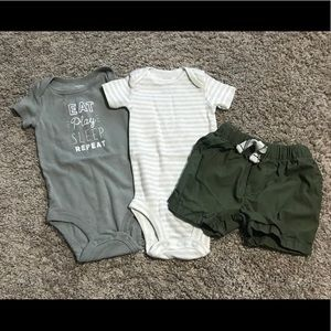 *LIKE NEW* two baby onesies and shorts set